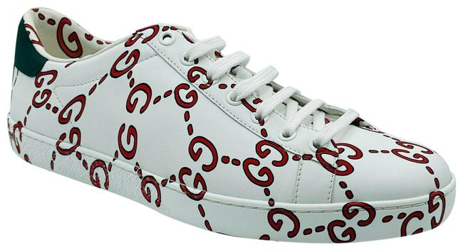 Item - White/Red Ghost Women's Leather Gg Logo 40.5g/Us 498216 9085 Sneakers Size US 10.5 Regular (M, B)