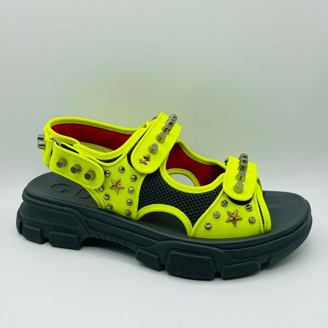Item - Neon Yellow Fabric Studded Platform Sandal 12g/Us 12.5 546212 7265 Shoes