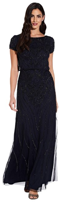 Item - Midnight Black Beaded Blouson Long Formal Dress Size 18 (XL, Plus 0x)