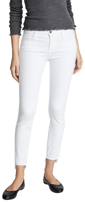 Item - White 'le De Jeanne ' Raw Stagger Mid Skinny Jeans Size 26 (2, XS)