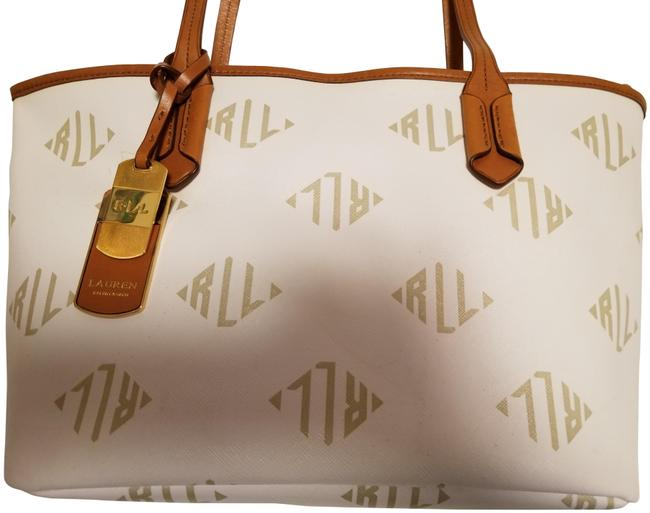 Item - Rl White & Tan Coated Canvas Leather Tote