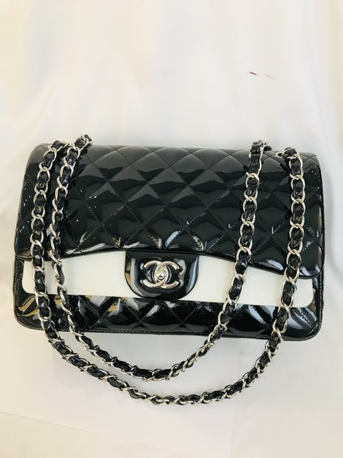 Chanel Classic Double Flap Quilted Jumbo Black Patent Leather Shoulder Bag Chanel Classic Double Flap Quilted Jumbo Black Patent Leather Shoulder Bag Image 2