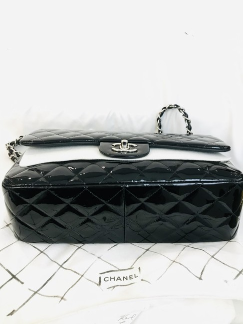 Chanel Classic Double Flap Quilted Jumbo Black Patent Leather Shoulder Bag Chanel Classic Double Flap Quilted Jumbo Black Patent Leather Shoulder Bag Image 3