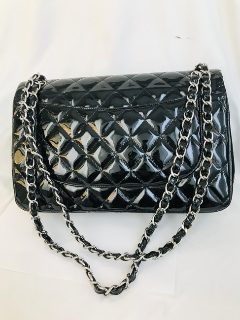 Chanel Classic Double Flap Quilted Jumbo Black Patent Leather Shoulder Bag Chanel Classic Double Flap Quilted Jumbo Black Patent Leather Shoulder Bag Image 7