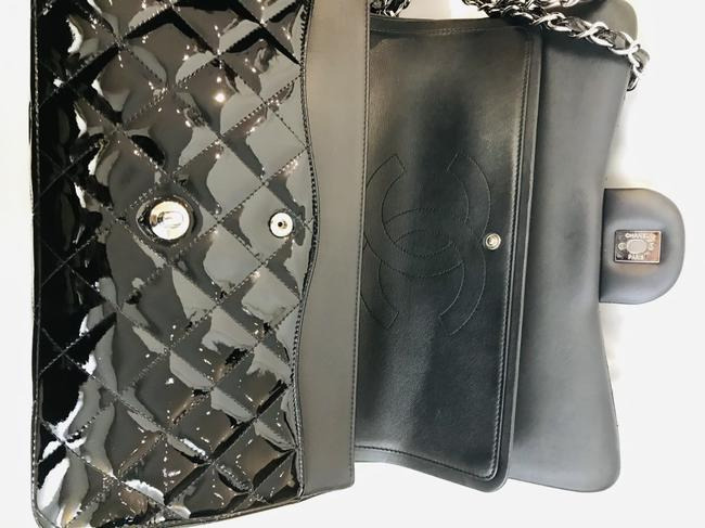 Chanel Classic Double Flap Quilted Jumbo Black Patent Leather Shoulder Bag Chanel Classic Double Flap Quilted Jumbo Black Patent Leather Shoulder Bag Image 8