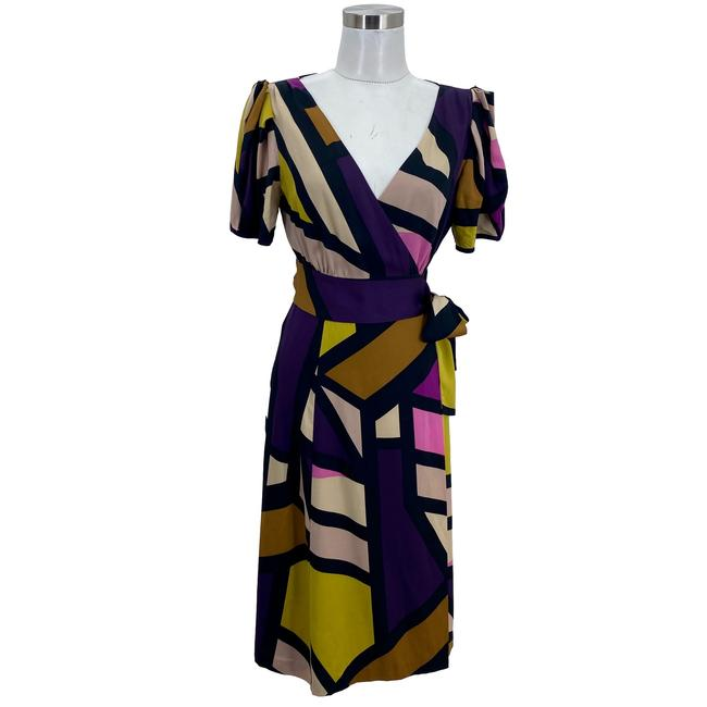 Item - Multi-color N1626 Small Wrap Puff Sleeve Mid-length Formal Dress Size 6 (S)