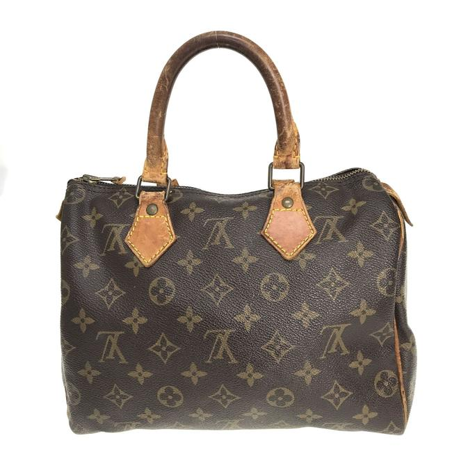 Item - Speedy Monogram 25*** Brown Leather Baguette