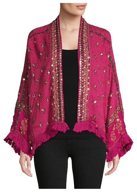 Item - Berry Red Raspberry Ray Of Light Embellished Fringe Trim Jacket Size 8 (M)
