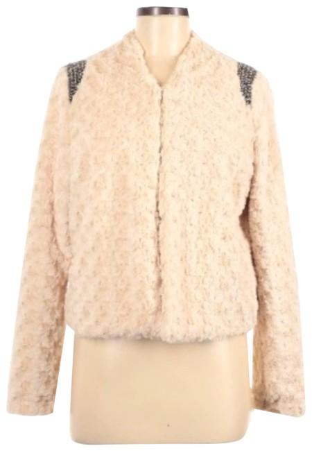 Item - Cream Furry Beaded Shoulder Jacket Small Coat Size 4 (S)