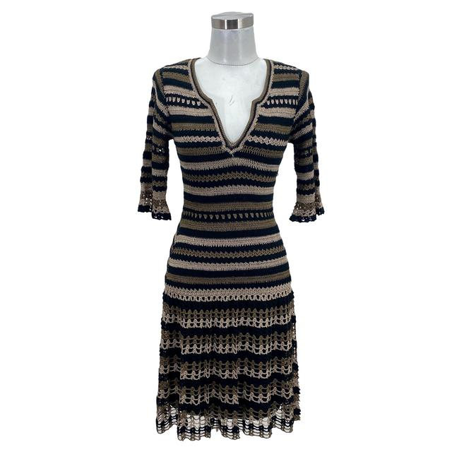 Item - Brown Green N1652 Designer Small Knit A-line Crochet Striped Mid-length Formal Dress Size 2 (XS)