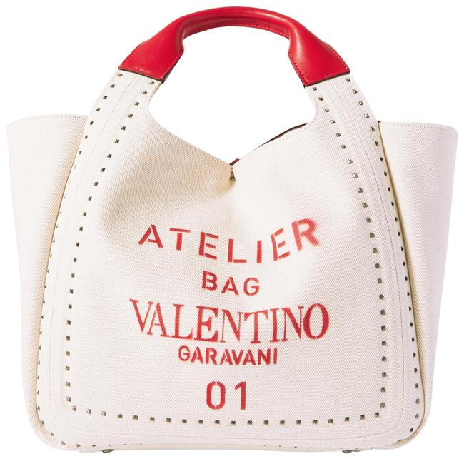 Item - Garavani Atelier Small Studded Leather-trimmed Beige Canvas Tote