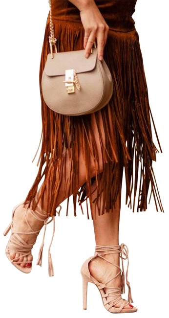 Item - Brown Suede Tiered Fringe Skirt Size 6 (S, 28)
