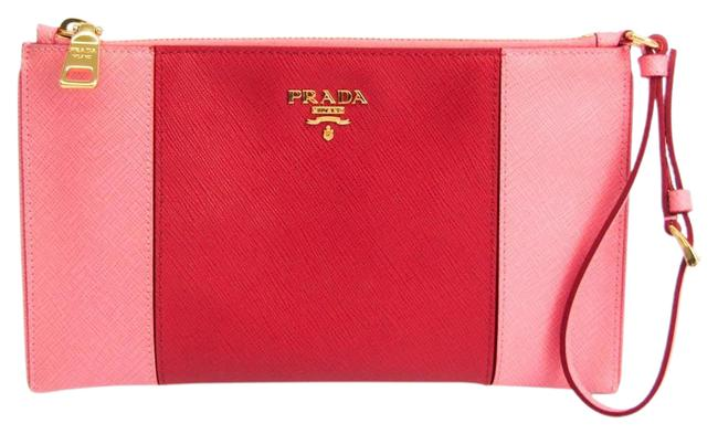 Item - Women's Pink / Red Color Saffiano Clutch