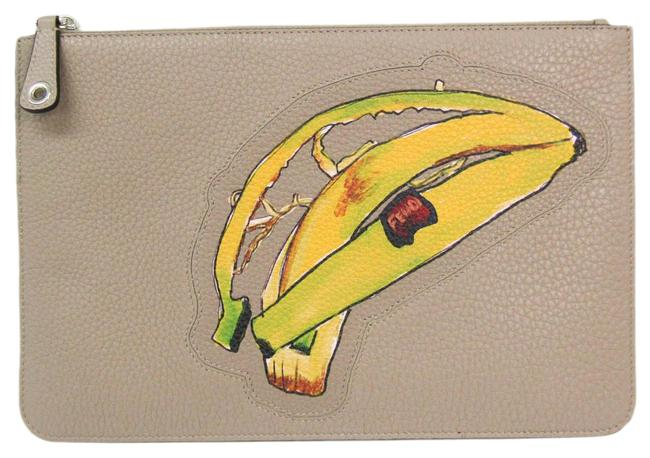Item - Banana Pattern 7n0078 Unisex Brown / Gray Beige / Green / Yellow Leather Clutch
