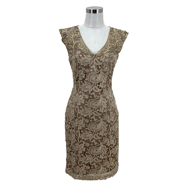 Item - Gold N1669 Designer Small Lace Sheath Sequin Mid-length Formal Dress Size 4 (S)