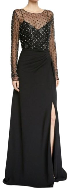 Item - Black Silver Tulle Mesh Crepe Draped A-line Skirt Long Formal Dress Size 0 (XS)