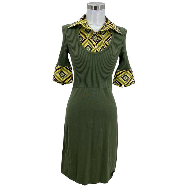 Item - Green XS N1685 2 Knit Dickie Collar Sweater A-line Mid-length Formal Dress Size 0 (XS)