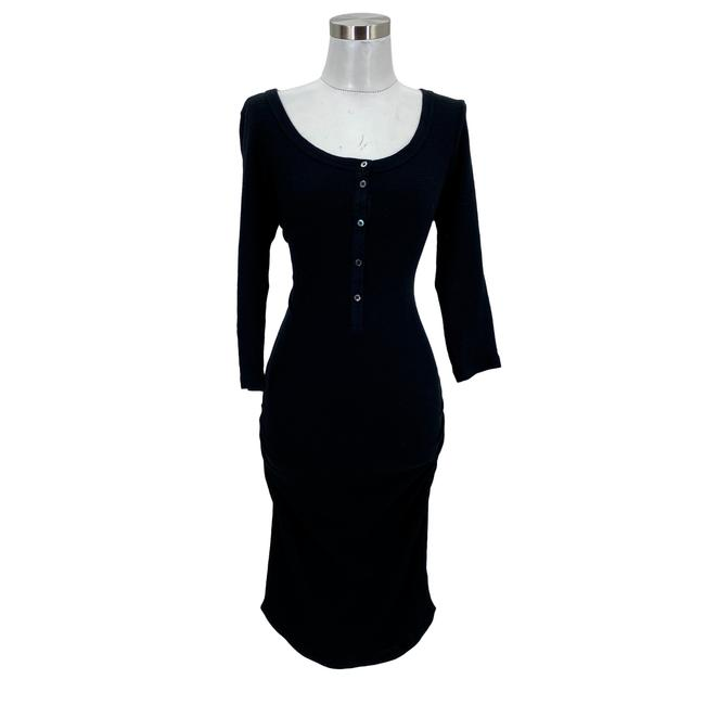 Item - Black XS N943 Designer Knitted Bodycon 3/4 Sleeves Mid-length Short Casual Dress Size 2 (XS)