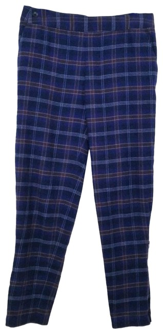 Item - Blue White Brown Plaid Zip Ankle Activewear Bottoms Size 4 (S, 27)