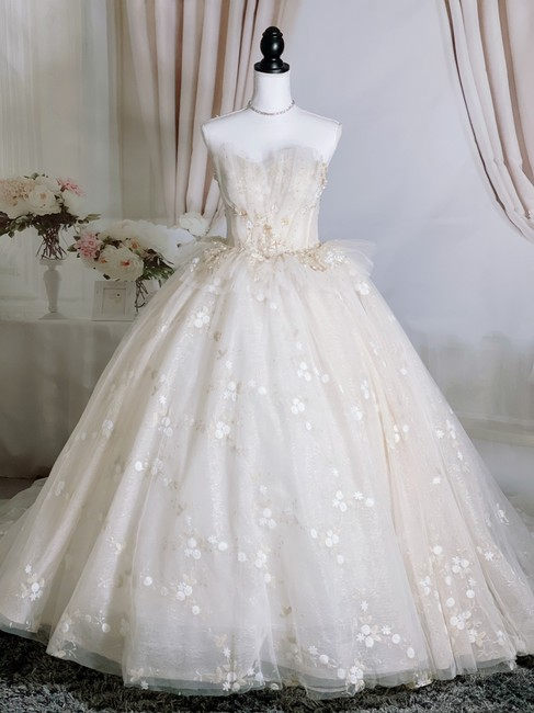 Item - Light Blush Lace Tulle Organza Luxury Strapless Fairy Formal Wedding Dress Size 4 (S)