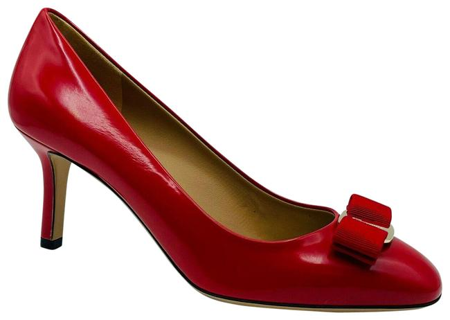 Item - Red Erice 70 Women's Leather Bow Heel C 672532 Pumps Size US 6.5 Wide (C, D)