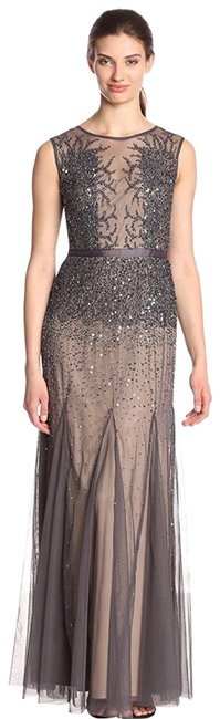 Item - Women's Beaded Gown with Illusion Neckline Long Formal Dress Size Petite 14 (L)