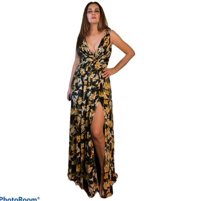 Item - Black Yellow Gold and White Front Slit Maxi Long Formal Dress Size 6 (S)