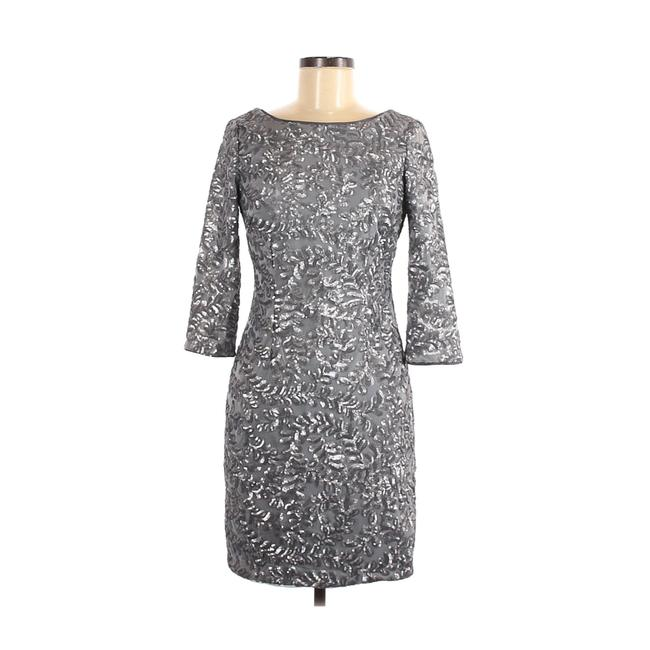 Item - Silver Gray Sequin with 3/4 Sleeves Short Cocktail Dress Size 6 (S)