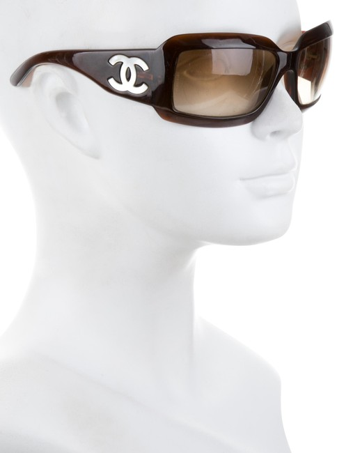 Item - Brown Mother Of Pearl White 5076 Cc Logo Wrap Shell Iridescent Abalone Mop Classic Sunglasses