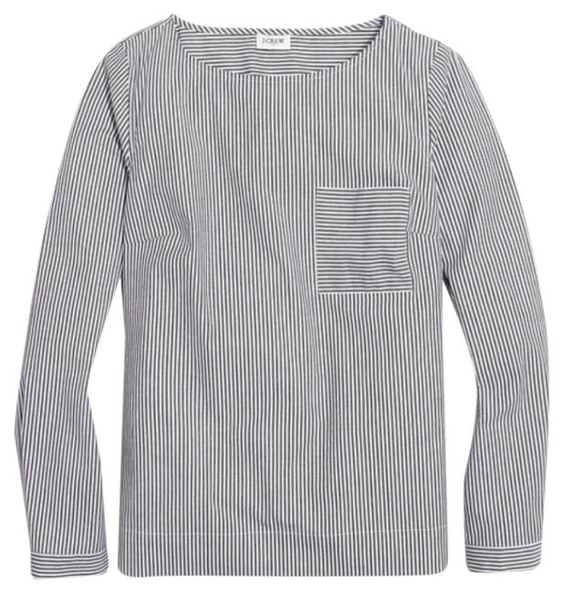 Item - Gray Striped Long Sleeve Pocket Small Blouse Size 6 (S)
