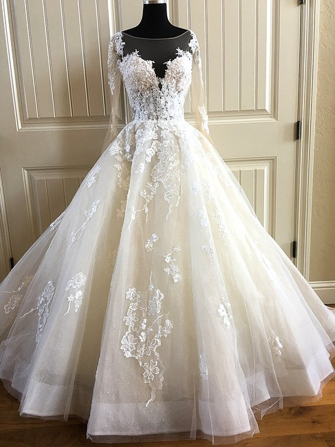 Item - 843 Lace Tulle Formal Wedding Dress Size 10 (M)
