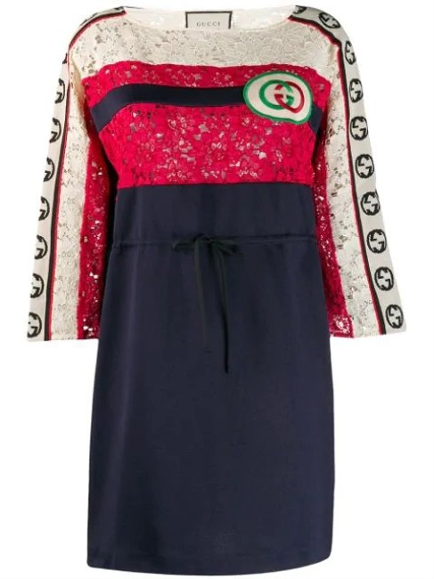 Item - Multicolor Embroidered Gg Logo Patch Striped Lace Short Night Out Dress Size 8 (M)