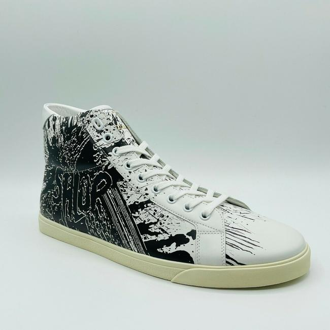 Item - White/Black Shlup Printed White/Black Leather Hi-top Sneaker 43/Us 10 400a04 Shoes