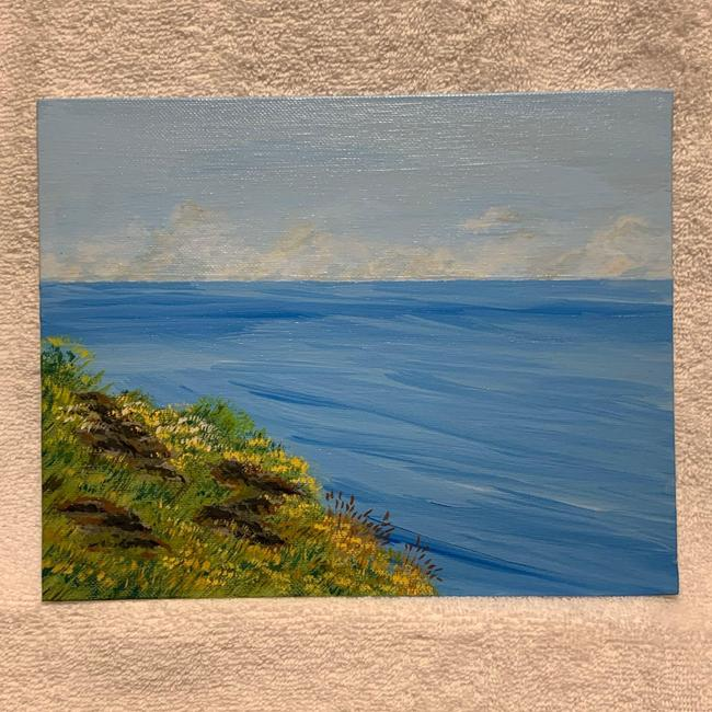 Item - Blue Rolling Waves and Wildflowers Floral Seascape Painting Decoration