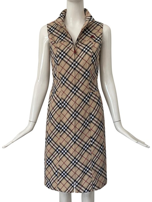 Item - Beige Multi Check Zip Front Mid-length Short Casual Dress Size 4 (S)