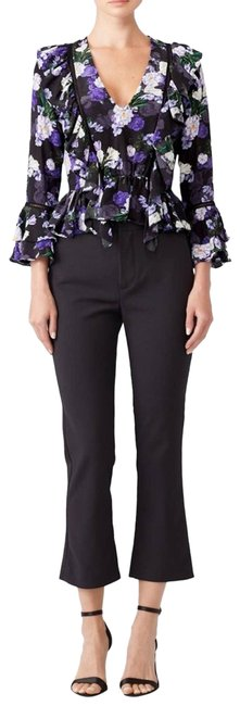 Item - Black Blossom Floral Ruffle Blouse Size 4 (S)