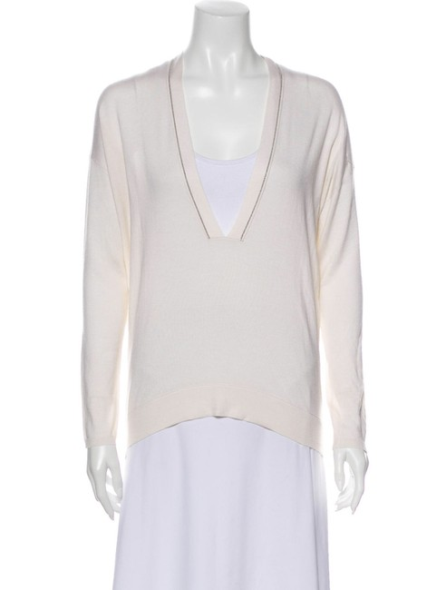 Item - Cashmere Monili V-neck Plunge Medium Ivory Sweater