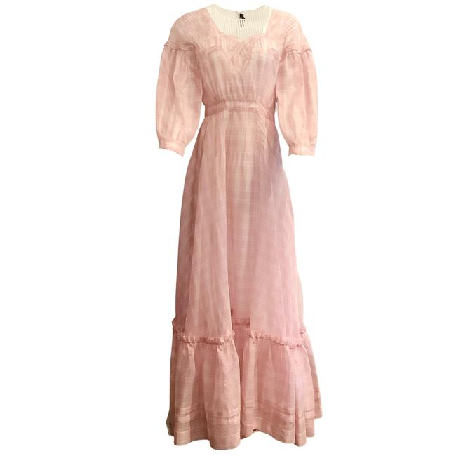 Item - Pink and Ivory Sheer Plaid Long Casual Maxi Dress Size 6 (S)