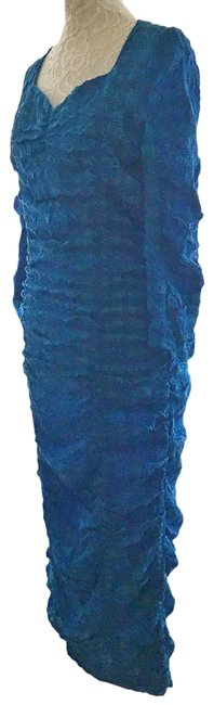 Item - Blue Ruched Midi Large Night Out Dress Size 12 (L)