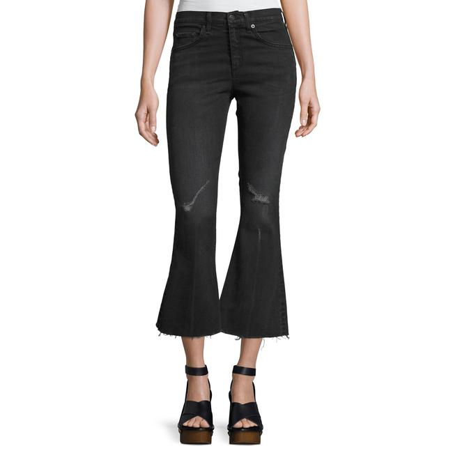Item - Washed Black Distressed Crop Flare Capri/Cropped Jeans Size 28 (4, S)