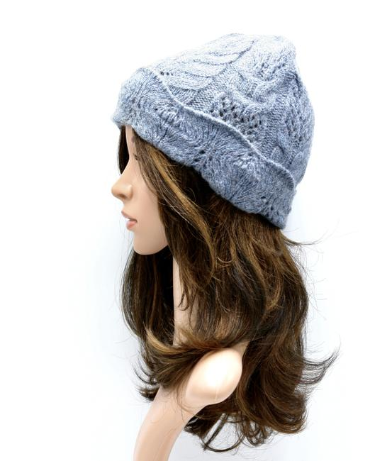 Item - Blue-gray Cable Knit Wool Blend Cap Hat