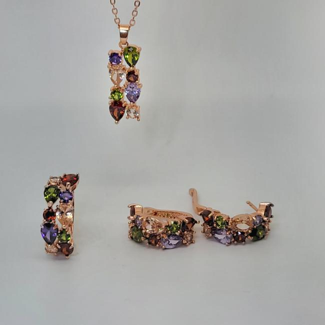 Item - Multi Color Ring Pendant Earring Simulated Morganite Peridot Amethyst Suite