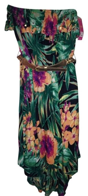Multi-color Maxi Dress by Candie's Strapless High-low Tropical Ruffle Belted