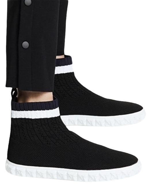 Item - Black Coverall Knit Pull On High Top Sneakers Boots/Booties Size US 7.5 Regular (M, B)
