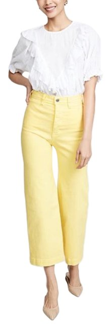 Item - Yellow Light Wash Cynthia Cropped Wide Flare Leg Jeans Size 26 (2, XS)