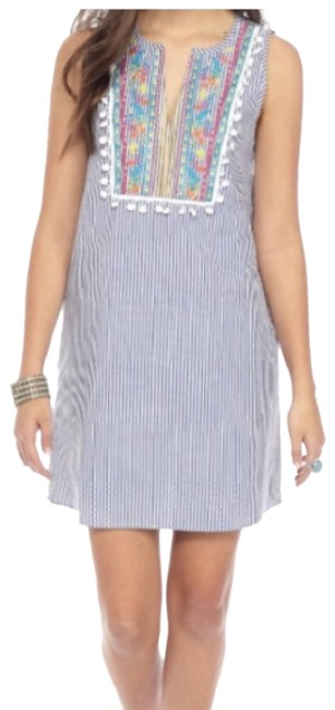 Item - White Lovefire Embroidered Striped Short Casual Dress Size 4 (S)
