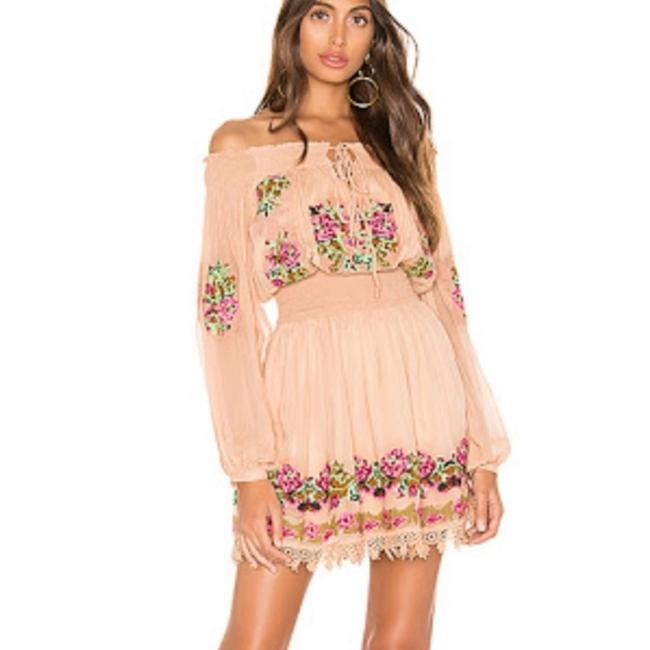 Item - Brown Calista Boho Embroidered Mini Short Casual Dress Size 8 (M)