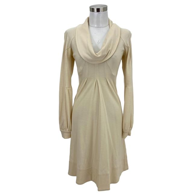 Item - Ivory XS N910 Designer Sweater Cowl Neck Mid-length Short Casual Dress Size 0 (XS)