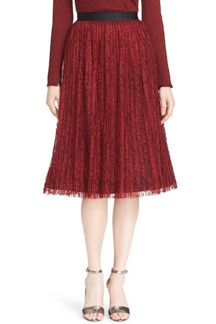Item - Red Mikaela Pleated Lace Skirt Size 4 (S, 27)