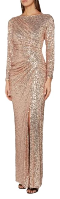 Item - Gold Allover Sequins Sleeve Sparkle Evening Sexy Gown Long Formal Dress Size 6 (S)